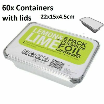 60x Small Foil food Container Tray and Lid Roasting BBQ Takeaway Oven With Lids