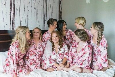 Floral Cotton Bride Bridesmaid Robe Dressing Gown - The Jessica Collection