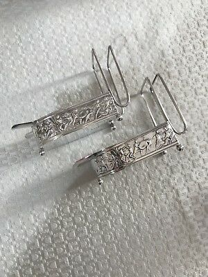 Set Of 2 Redlich Sterling Silver Figural Ashtray Match Cigarette Holders