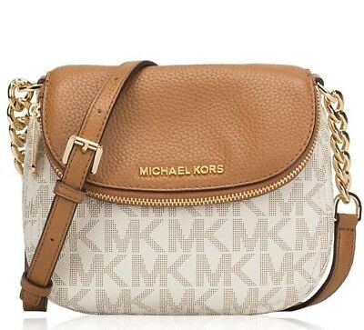Michael Kors MK Bedford Flap Crossbody Purse Handbag Bag in PVC Vanilla New NWT