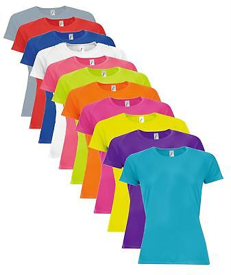 Girls Ladies Breathable Plain Polyester Athletic Sports Tee Shirt T-Shirt