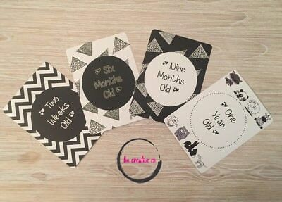 Baby Milestone Age Cards | Monochrome | Unisex | 15 Cards | Brand New | Sealed