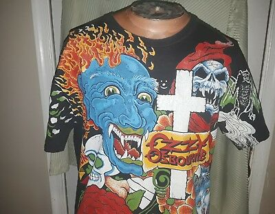 Vintage 1992 OZZY OSBOURNE ORIGINAL TATTOO ALL OVER T-Shirt LG/XL NO MORE TEARS