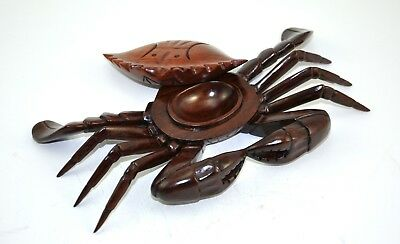 """9"""" Vintage old Chinese ROSEWOOD Crab Treasure BOX Hand carved Natural Solid Wood"""