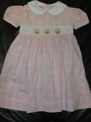 Girls SMOCKED Dress w/ EASTER BASKETS by ANAVINI - Sz 24 m - Pink PLAID