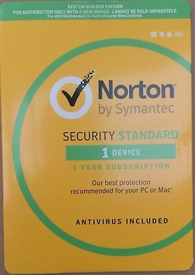 2018 Norton INTERNET SECURITY Standard 1 Devices by Symantec 1 year