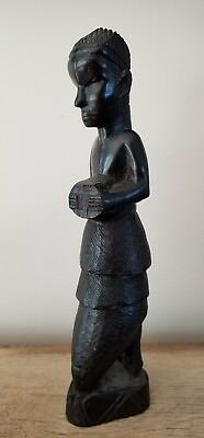"African Hand-Carved Wood Statue Kneeling Women 11"" tall"