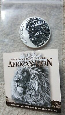 2018 Republic of Chad African Lion 1 oz Silver Fr 5,000 Coin BU with booklet
