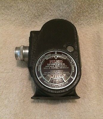 Vintage Bell & Howell Sportster Double Run Eight 8mm Movie Camera C-1940- Nice!