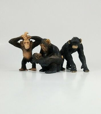 Schleich Chimpanzee Monkey Set of 3 14697 14680 14679 Figure Toy Retired