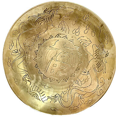 Large Antique CHINESE BRASS SERVING BOWL-Engraved Dragons-MADE IN CHINA Mark