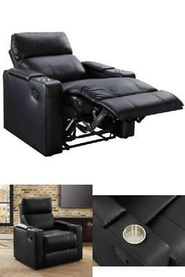 Leather Seat Lounge Sofa Recliner With Cup Holder In Arm Storage Home  Theater