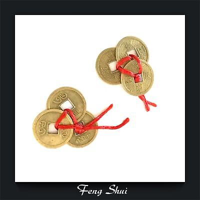 Genuine Lucky Chinese Fortune Wealth Feng Shui Coins For Purse Wallet x 2