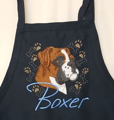 Boxer Dog, BBQ, Chef, Work Embroidered Apron