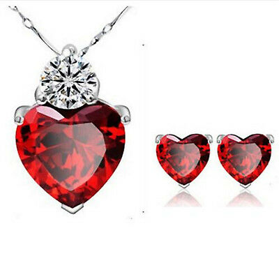 Women Gold Plated Red Heart Crystal Jewelry Sets Wedding Necklace Earring sets Y