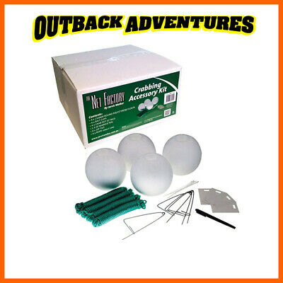 CRAB POT ACCESSORY KIT INC. 4 X 150mm FLOATS, 4 BAIT CLIPS, 4 ROPES,ID TAGS PLUS