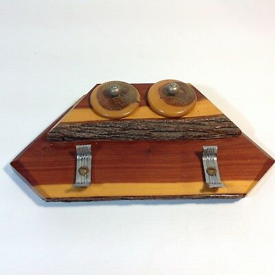 Vintage Mulga Wood / Mulgawood Twin Ink Well and Pen Stand