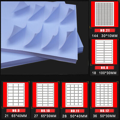 A4 Matte Self-adhesive Paper 1-144 Labels/Page For Inkjet Laser Sticker Print US