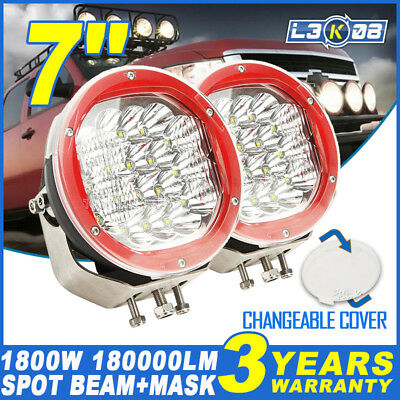 PAIR 7inch 1800W CREE LED Work Light Driving Spotlight Lamp Offroad UTE Red HID