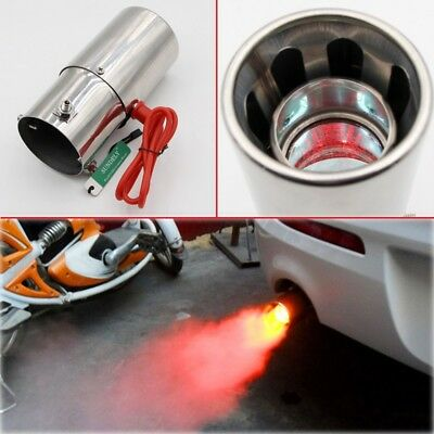 Universal Red Light Flaming Stainless Muffler Tip Spitfire Car LED Exhaust Pipe