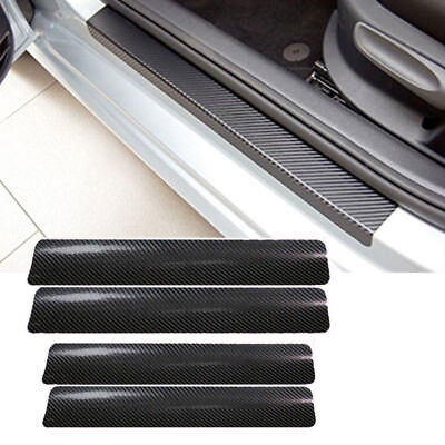 4x Car Accessories Door Sill Scuff Welcome Pedal Carbon Fiber Protect Stickers