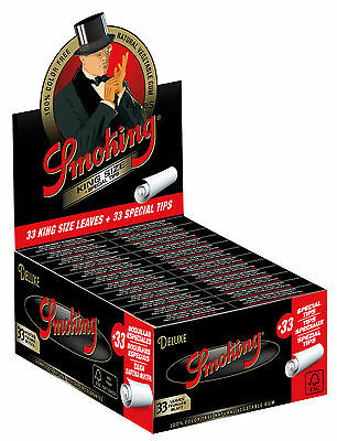 1 Box Smoking DELUXE King Size Papers 24 x 33 Blättchen mit 24 x 33 Filtertips