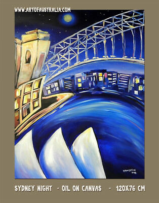 DEBORAH BROUGHTON ART Original Oil Painting Sydney Harbour Night Scene