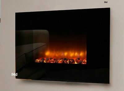 Large 900w & 1800w Black Log Burning Flame Effect Electric Wall Mounted Fire New