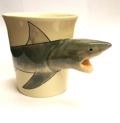 Shark Mug 3D head handle, Handpainted Ceramic JAWS Cup WINDHORSE