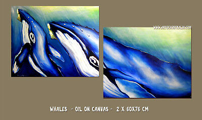 DEBORAH BROUGHTON ART Original Oil Diptych Painting Whale and Calf Ocean Canvas
