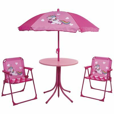 Kids 4 Piece Parasol CUTE LION GARDEN PATIO SET with Chairs & Sunshade Table
