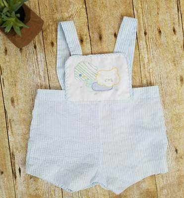 Vtg Allison Scott Baby Boy Outfit Sunsuit Size 6-9 Mo Seersucker Blue & White