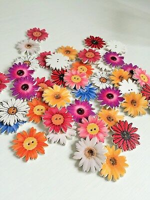 10 Pcs Sunflower Random Mixed flower Painted Wooden Decorative Buttons art 290