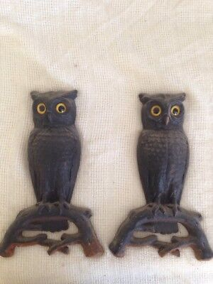 Vintage Set Cast Iron Owl Fireplace Andirons w Glass Eyes Antique Firedogs