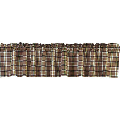 WYATT Plaid Country Primitive Rustic Lined VALANCE 16X72 Black Green Khaki
