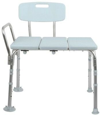 Tub And shower Seat Transfer Bench With Chair Back Bath Safety With Microban New