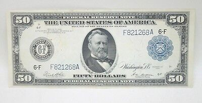 1914 $50 Federal Reserve Note Large Blue Seal Atlanta Fifty Dollar VF-XF Fine