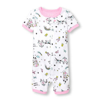 NWT The Childrens Place Unicorn Doodle Girls Short Sleeve Stretchie Pajamas