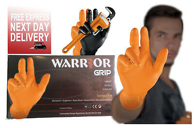 Nitrile Disposable Orange Powder Free Work Gloves Fish Scale Grip Heavy Duty