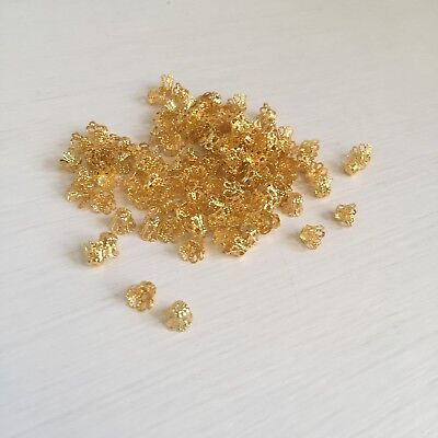 20 pcs 5x6 mm Plated Flower End Beads Caps Charms art. 291