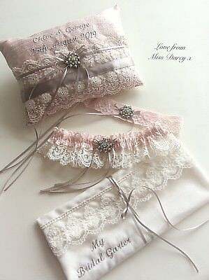 Bridal Garter With Toss And Ring Pillow Blush Pink Ivory Personalised Wedding