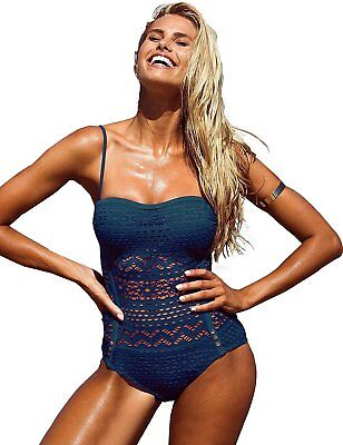 0f331ada29 GRAPENT Women Lace Crochet Halter Strap One-Piece Bathing Suit Swimsuit  Swimwear