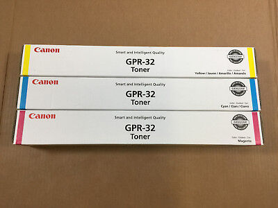 NEW Genuine Canon GPR-32 Cyan, Magenta, and Yellow Toner Lot Same Day Shipping