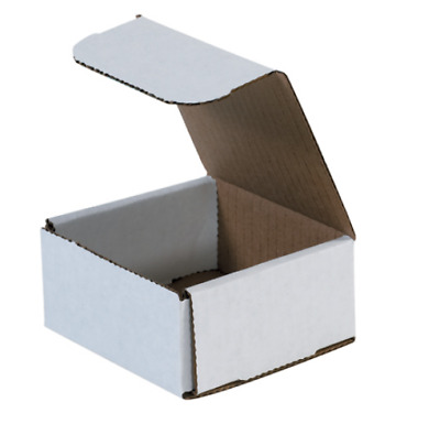 "Pick Quantity! 1-500 4x4x2"" White Corrugated Mailer Small Folding Box Light Ship"