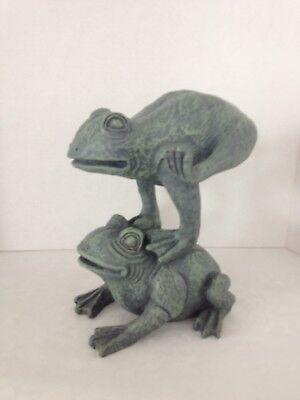 """Green Resin Two Leaping Frogs Garden Statue Figurine 8"""" X 10"""" New"""
