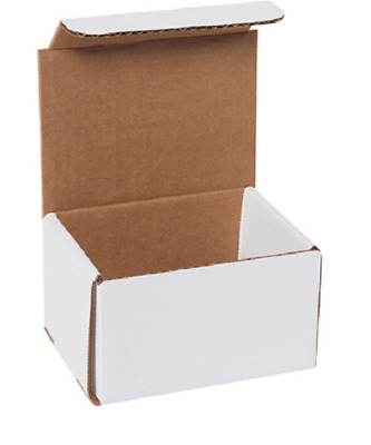 "Pick Quantity! 1-500 5x4x3"" White Corrugated Mailer Small Folding Box Light Ship"