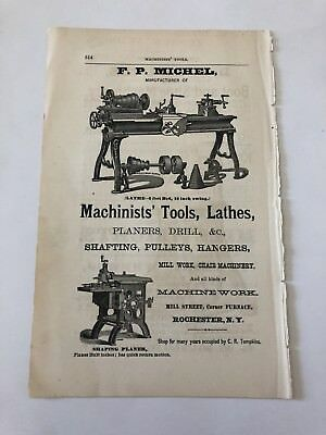 1871 Michel Machinists Tools And Lathes Rochester NY Advertisement #B-30