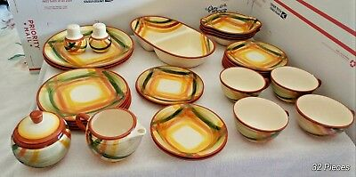 Vernonware Homespun Hand Painted China. 32pcs. (1949-1958) California USA