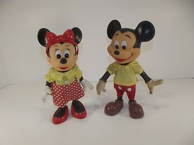 Vintage Dakin Mickey and Minnie Mouse Toys Walt Disney Productions Hong Kong