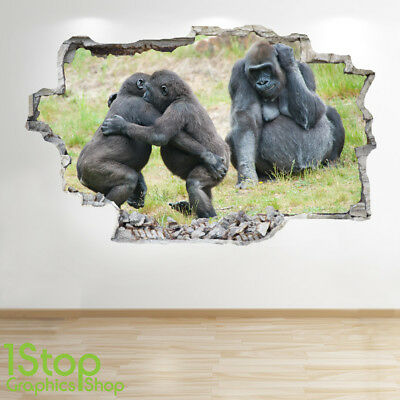 Gorilla Wall Sticker 3D Look - Bedroom Lounge Nature Wall Decal Z661